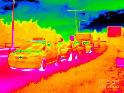 Gridlock Photograph - Traffic Jam, Thermogram by Tony McConnell