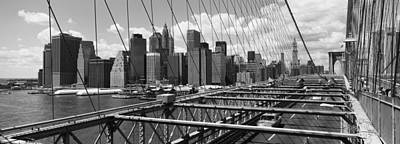 White River Scene Photograph - Traffic On A Bridge, Brooklyn Bridge by Panoramic Images