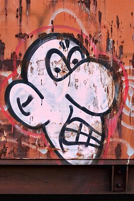 Urban Art Photograph - Train Art Cartoon Face by Carol Leigh