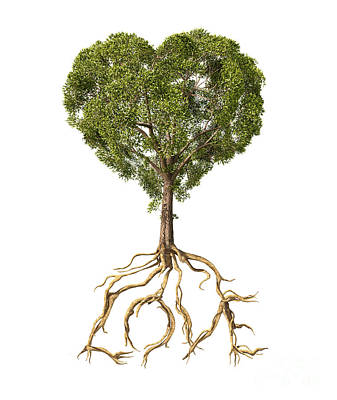 Caring Mother Digital Art - Tree With Foliage In The Shape by Leonello Calvetti