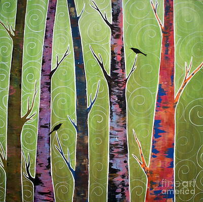 Blackbird Painting - Trees On Green by Karla Gerard