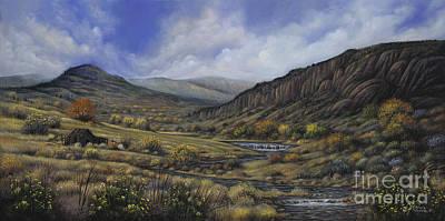Mountain Valley Painting - Tres Piedras by Ricardo Chavez-Mendez