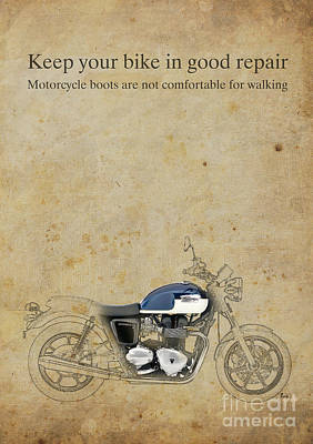 Garage Mixed Media - Triumph Motorcycle Quote by Pablo Franchi