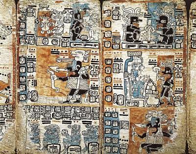 Precolumbian Photograph - Trocortesian Or Madrid Codex. S.xiv by Everett