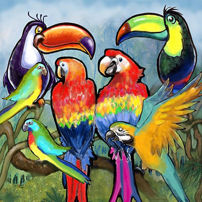Parakeet Digital Art - Tropical Birds by Kevin Middleton