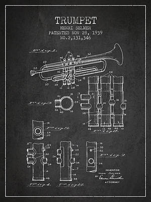 Trumpet Digital Art - Trumpet Patent From 1939 - Dark by Aged Pixel