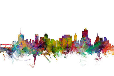 Tulsa Oklahoma Skyline Print by Michael Tompsett