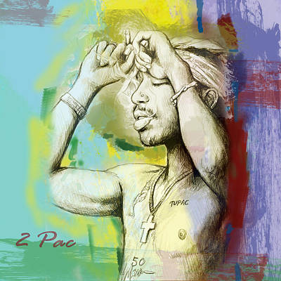 Rolling Stone Magazine Mixed Media - Tupac Shakur Long Stylised Drawing Art Poster by Kim Wang