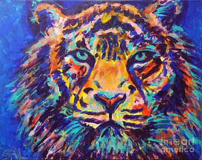 Vivid Colour Painting - Turquoise Eyes Tiger by Jennifer Lombardo