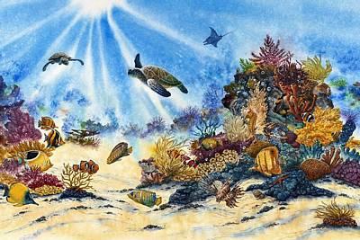 Fish Underwater Painting - Turtle by John YATO