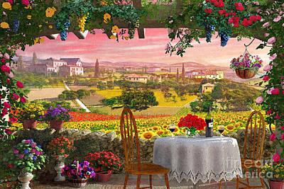 Summertime Digital Art - Tuscany Hills by Dominic Davison