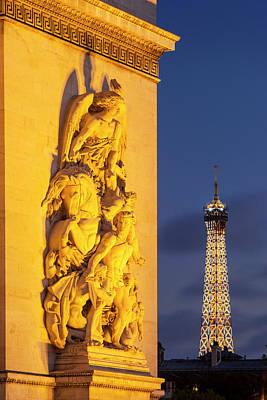 Twilight At Arch De Triomphe Print by Brian Jannsen
