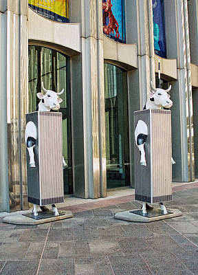 Urban Art Photograph - Cow Parade N Y C 2000 - Twin Cowers by Allen Beatty