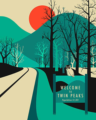 Owl Digital Art - Twin Peaks Travel Poster by Jazzberry Blue