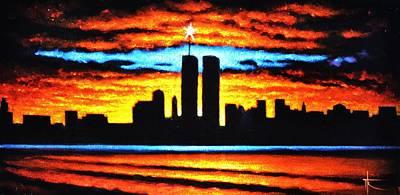 Sunsert Painting - Twin Towers by Thomas Kolendra
