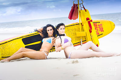 Surf Lifestyle Photograph - Two Beautiful Women Together On Beach by Jorgo Photography - Wall Art Gallery