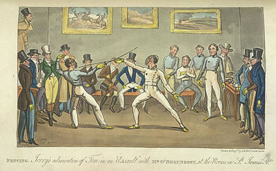 Two Men Fencing Print by British Library