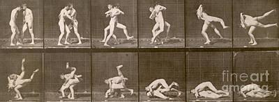 Grapple Photograph - Two Men Wrestling by Eadweard Muybridge