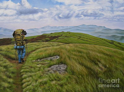 Backpacking Painting - Two Paths Diverged On A Bald And Sorry I Could Not Travel Both by Ann Holder