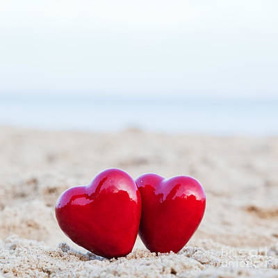 Hug Photograph - Two Red Hearts On The Beach Symbolizing Love by Michal Bednarek