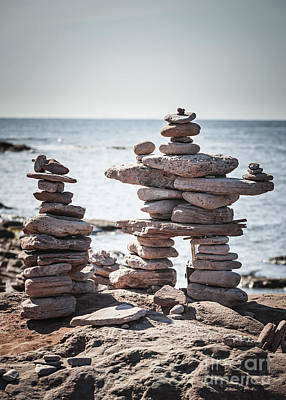 Two Stacked Stone Cairns Print by Elena Elisseeva