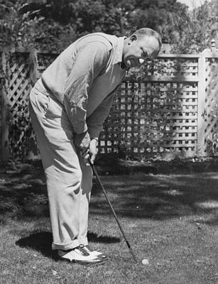 Cobb Photograph - Ty Cobb Golfing At Home by Underwood Archives