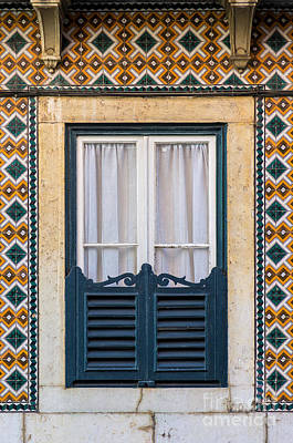 Framed Old Town Door Photograph - Typical Window by Carlos Caetano