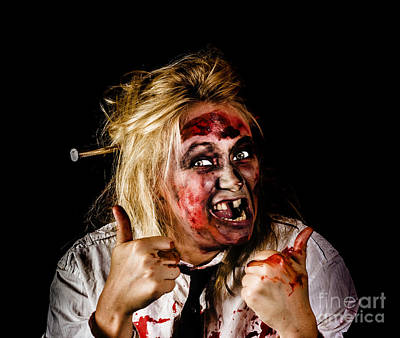 Undead Business Zombie Giving Halloween Thumbs Up Print by Jorgo Photography - Wall Art Gallery