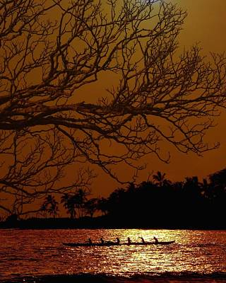 Canoe Digital Art - Under The Sunset by Athala Carole Bruckner