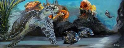 Green Sea Turtle Painting - Underwater Beauty by Donna Tuten