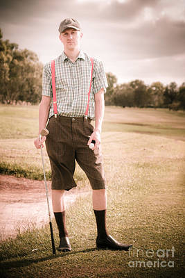 Unhappy Old Fashioned Golfer Print by Jorgo Photography - Wall Art Gallery