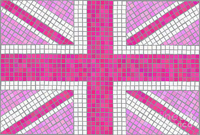 Signed Digital Art - Union Jack Pink by Jane Rix