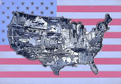 Abstract Map Digital Art - United States Flag Map by Bekim Art