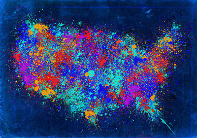 Abstract Map Digital Art - United States Splat Color Map by Bekim Art