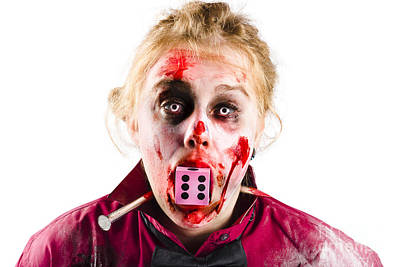 Unlucky Woman With Dice In Mouth Print by Jorgo Photography - Wall Art Gallery