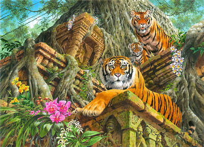 Temple Tigers Print by John Francis