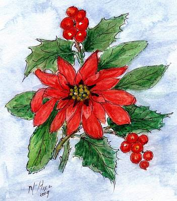 Berry Drawing - Poinsettia And Holly  by Nell Hill