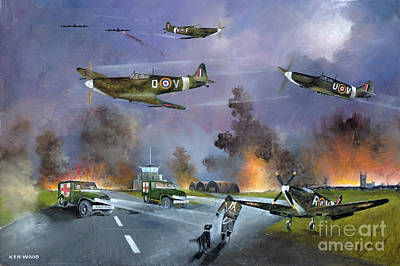 Ww11 Aircraft Painting - Up For The Chase by Ken Wood