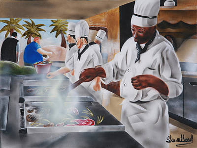 Painting - Urban Moment 5- Caribbean Cuisine by Shawn Morrel