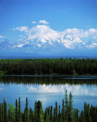 Usa, Alaska, Willow Lake And Mt Print by Adam Jones