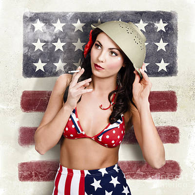 Usa Pin-up Woman. On Vintage American Flag Wall Print by Jorgo Photography - Wall Art Gallery