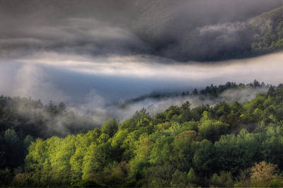 Usa, Tennessee, Foggy Morning At Cades Print by Joanne Wells