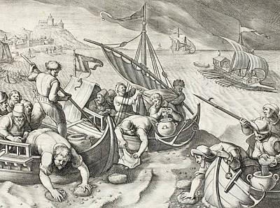 Seventeenth Century Drawing - Using Sponges To Collect Naphtha From The Surface Of The Waves by Jan Van Der Straet