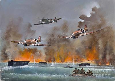 Ww11 Aircraft Painting - Utah Beach- June 6th 1944 by Ken Wood