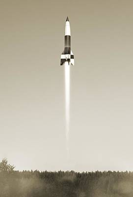 V2 Rocket Photograph - V-2 Rocket Launch, Artwork by Science Photo Library