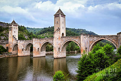 Valentre Bridge In Cahors France Print by Elena Elisseeva