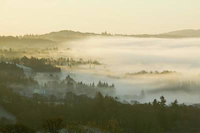 Valley Mist Over Windermere At Dawn Print by Ashley Cooper