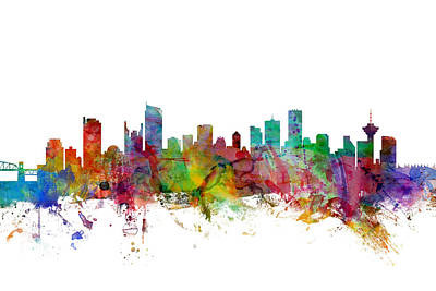 Vancouver Digital Art - Vancouver Canada Skyline by Michael Tompsett