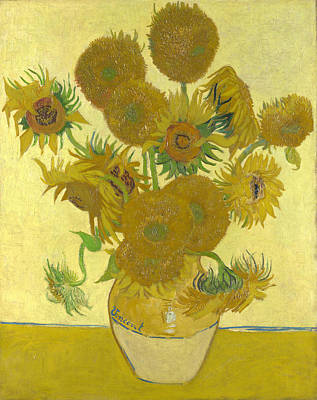 Old Vase Painting - Vase With Fifteen Sunflowers by Celestial Images