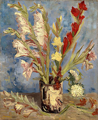 Gladiolus Painting - Vase With Gladioli And China Asters by Mountain Dreams